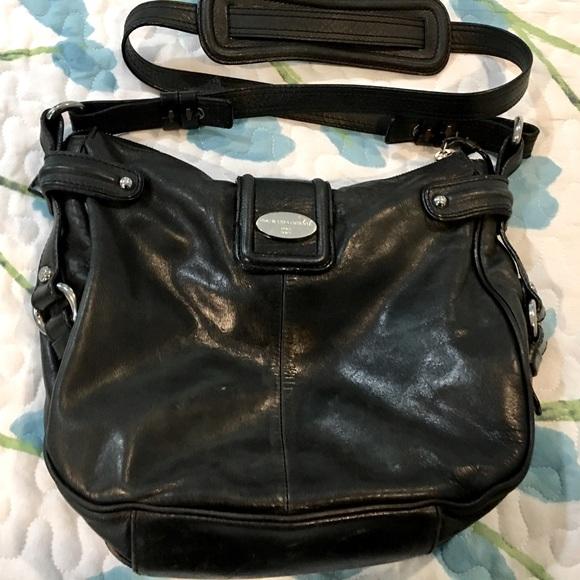 Francesco Biasia Black Leather Shoulder Bag- Italy
